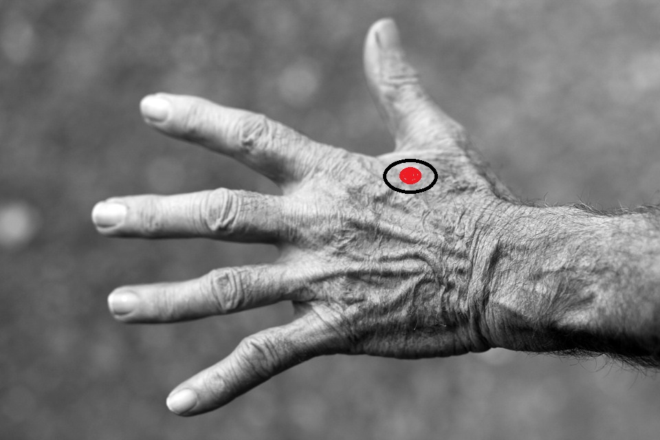 Squeeze pressure points in your hands